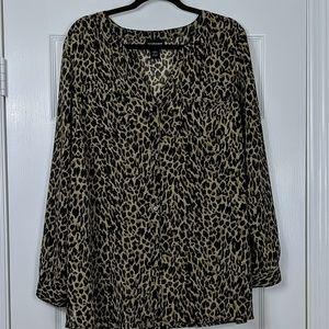 Lane Bryant Sheer Leopard Print Button Down